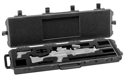 Hard gun cases for pistols and rifles.
