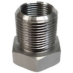 Threaded Barrel Adapter 1/2-28 ID to 5/8-24 OD - Stainless Steel - 3/4 Hex Head