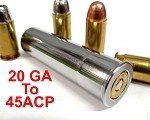 20GA to 45 ACP Shotgun Adapter - Chamber Reducer - Stainless Steel